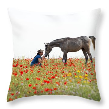 Three At The Poppies' Field... 4 Throw Pillow by Dubi Roman
