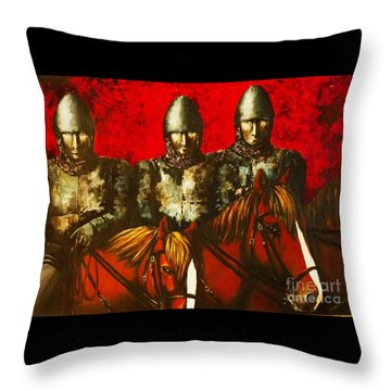 Three Knights Throw Pillow
