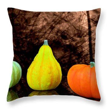 Three Small Pumpkins  Throw Pillow by Tommytechno Sweden