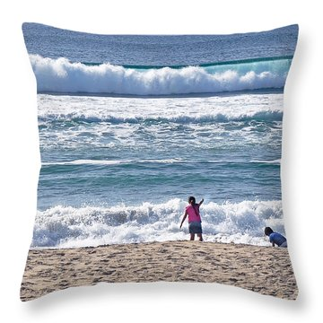 Thundering Waves Throw Pillow by Susan Wiedmann