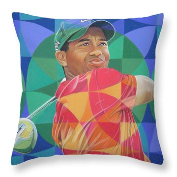 Throw Pillow featuring the drawing Tiger Woods by Joshua Morton