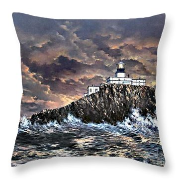 Throw Pillow featuring the painting Tillamook Rock Light by Lynne Wright