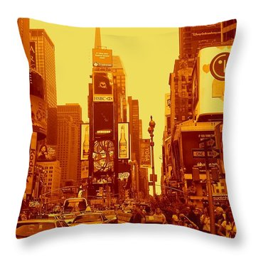 42nd Street And Times Square Manhattan Throw Pillow