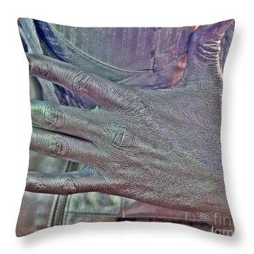 Throw Pillow featuring the photograph Tin Man Hand by Lilliana Mendez
