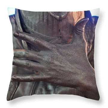Throw Pillow featuring the photograph Tin Man In Times Square by Lilliana Mendez