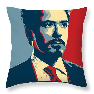 Tony Stark Throw Pillow by Caio Caldas