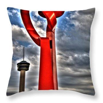 Throw Pillow featuring the sculpture Torch Of Friendship by Deborah Klubertanz