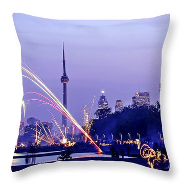 Toronto Fireworks Throw Pillow