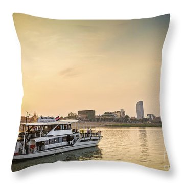 Tourist Boat On Sunset Cruise In Phnom Penh Cambodia River Throw Pillow