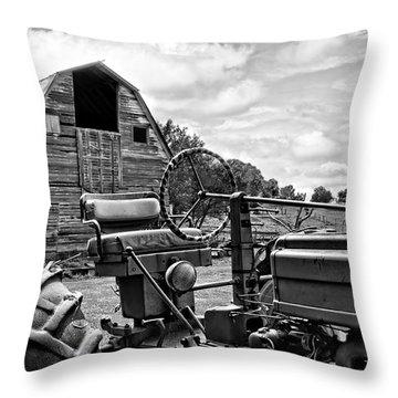 Tractor Barn Throw Pillow