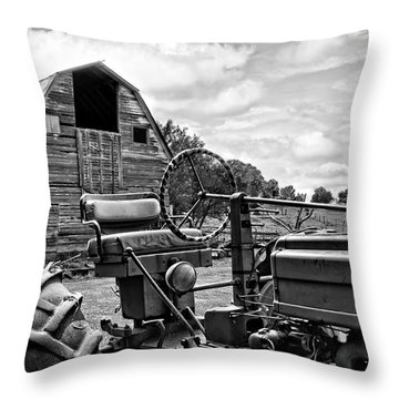 Tractor Barn Throw Pillow