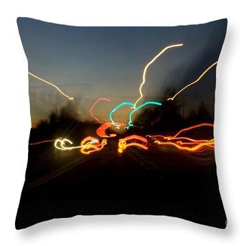 Traffic Blur Throw Pillow