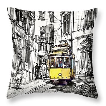 Lisbon Tram 28 Throw Pillow