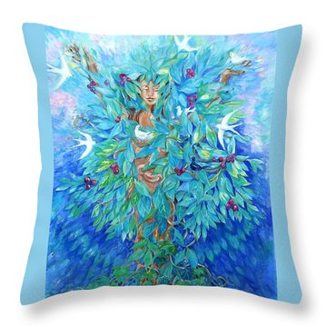 Throw Pillow featuring the painting Tree Of Life  by Trudi Doyle