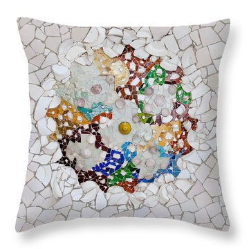 Trencadis Mosaic In Park Guell In Barcelona Throw Pillow
