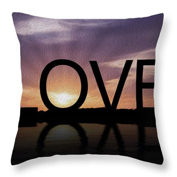 Tropical Sunset Throw Pillow by Aged Pixel