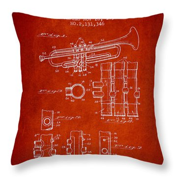 Trumpet Patent From 1939 - Red Throw Pillow by Aged Pixel
