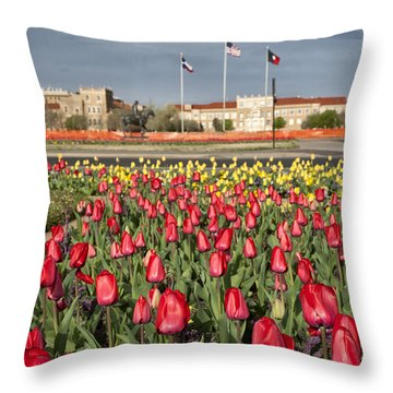Tulips At Texas Tech University Throw Pillow