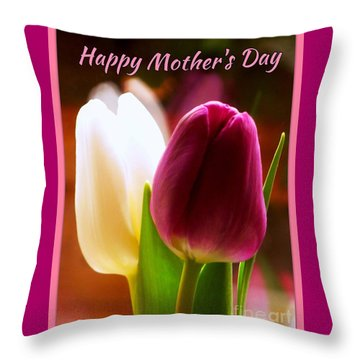 2 Tulips For Mother's Day Throw Pillow