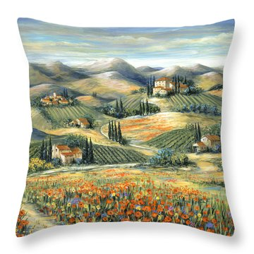 Tuscan Villa And Poppies Throw Pillow by Marilyn Dunlap