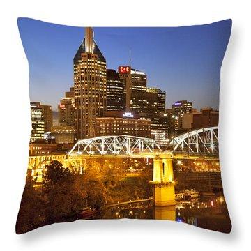 Twilight Over Nashville Tennessee Throw Pillow by Brian Jannsen