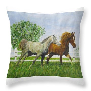 Two Horses Running By White Picket Fence Throw Pillow