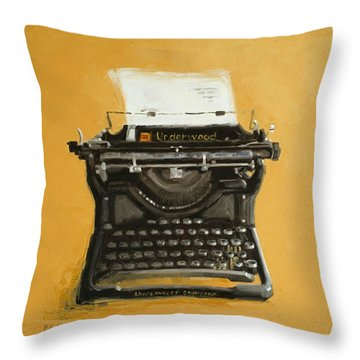Underwood Typewriter Throw Pillow by Patricia Cotterill