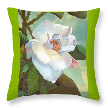 Unicorn In The Garden Throw Pillow by J L Meadows