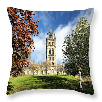 University Of Glasgow Throw Pillow by Grant Glendinning