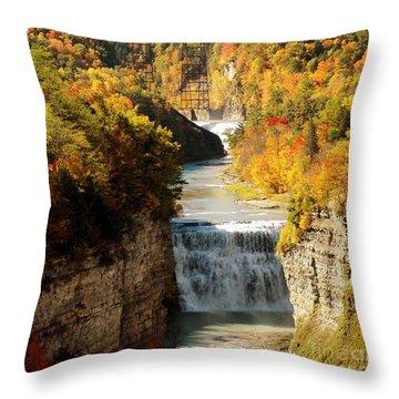 Upper Falls Throw Pillow by Kathleen Struckle