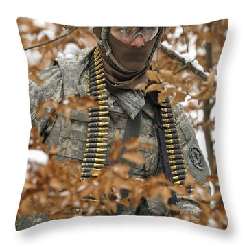 U.s. Army Soldier Conducts A Dismounted Throw Pillow by Stocktrek Images