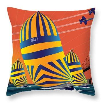 Usna Sunset Sail Throw Pillow