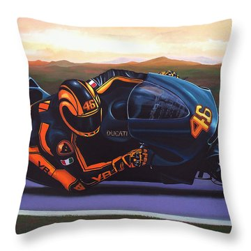 Valentino Rossi On Ducati Throw Pillow by Paul Meijering