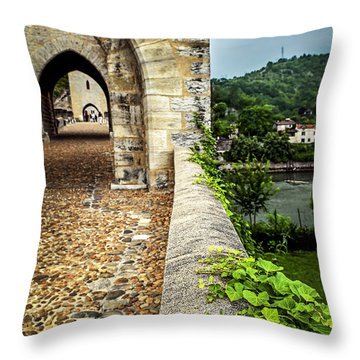 Valentre Bridge In Cahors France Throw Pillow by Elena Elisseeva