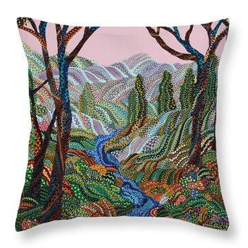 Valley Throw Pillow by Erika Pochybova