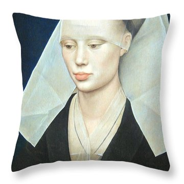 Throw Pillow featuring the photograph Van Der Weyden's Portrait Of A Lady by Cora Wandel