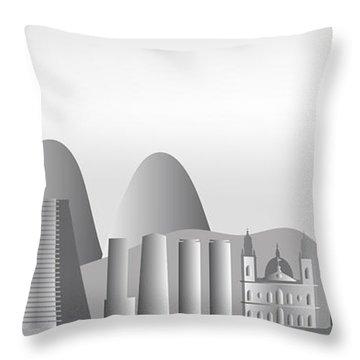 vector Rio de Janeiro skyline Throw Pillow by Michal Boubin