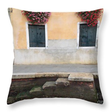 Venice Canal Shutters With Dog And Flowers Horizontal Throw Pillow