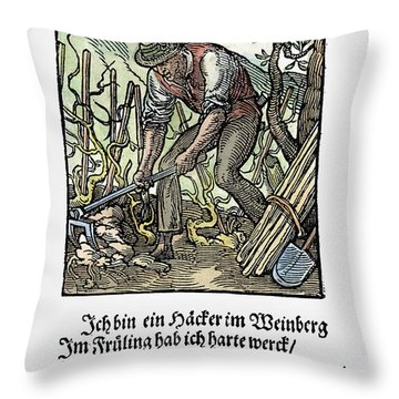 Vinegrower, 1568 Throw Pillow by Granger