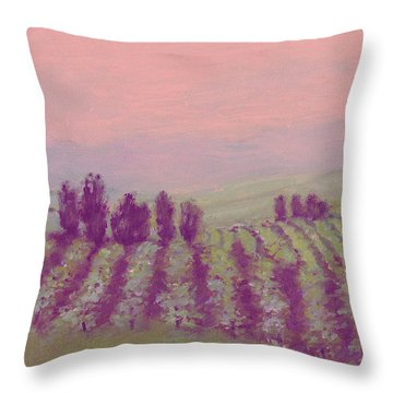 Vineyard At Dusk Throw Pillow