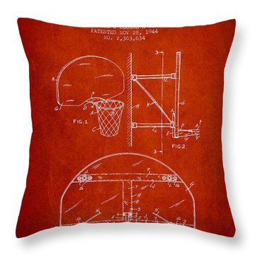 Vintage Basketball Goal Patent From 1944 Throw Pillow by Aged Pixel
