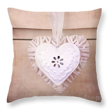 Vintage Hearts With Texture Throw Pillow