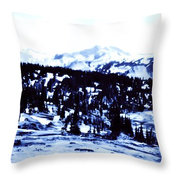 Throw Pillow featuring the photograph Vintage Mount Rainier Forest Early 1900 Era... by Eddie Eastwood