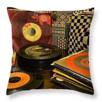 Vintage Vinyl Throw Pillow by Paul Ward