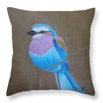 Violet-breasted Roller Bird Throw Pillow