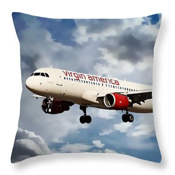 Airplanes Throw Pillow featuring the photograph Virgin America Mach Daddy  by Aaron Berg