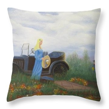 Waiting For A Picnic Throw Pillow