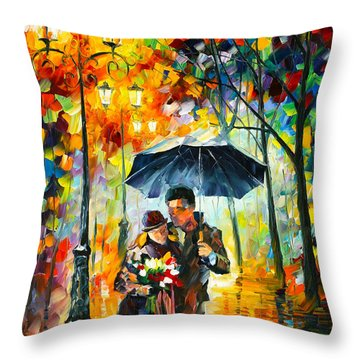 Warm Night Throw Pillow by Leonid Afremov