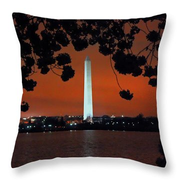 Throw Pillow featuring the photograph Washington Monument by Suzanne Stout