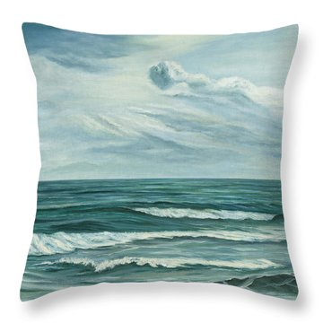 Throw Pillow featuring the painting Waving Sea by Angeles M Pomata